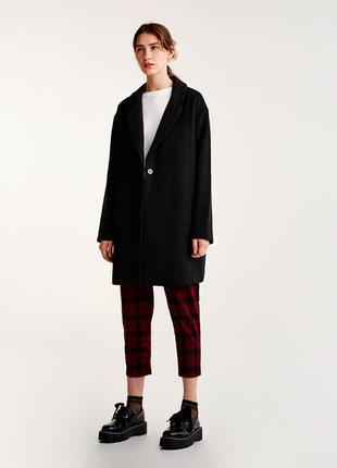 Новое базовое шерстяное пальто pull&bear (s,m,l) фасон кокон оверсайз oversize