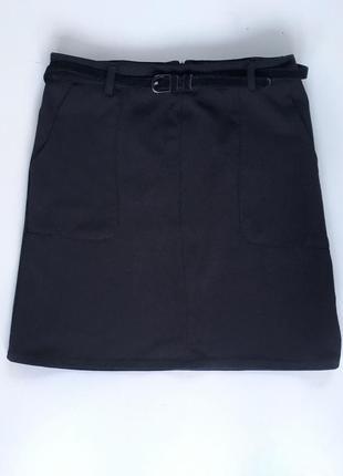 Юбка мини трапеция с карманами