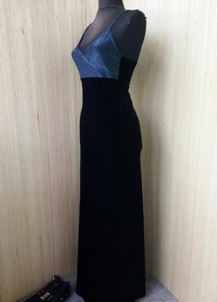 Французское длинное чёрное вечернее нарядное велюровое платье  под грудь fille a suivre
