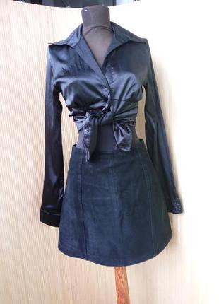 Замшевая юбка с высокой талией benetton
