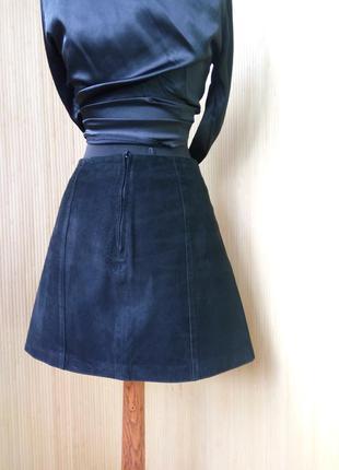 Замшевая юбка трапеция  с высокой талией benetton4