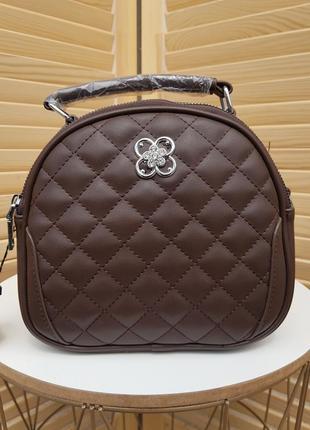 Красивая небольшая женская сумка кроссбоди коричневая
