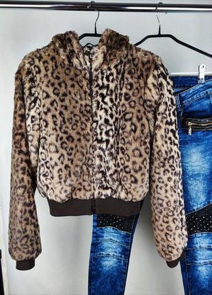 Брендовая стильная мягкая меховая куртка с капюшоном h&m этикетка