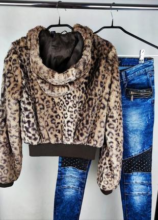 Брендовая стильная мягкая меховая куртка с капюшоном h&m этикетка2 фото