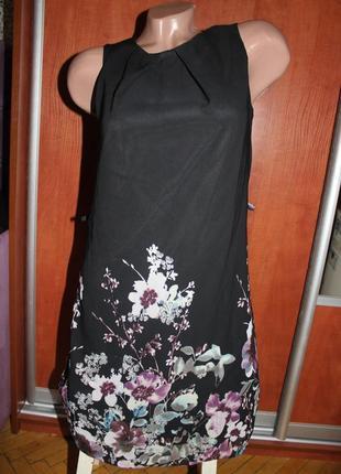 Платье черное с цветами сарфан черный шифон с подкладкой красивое вечернее atmosphere