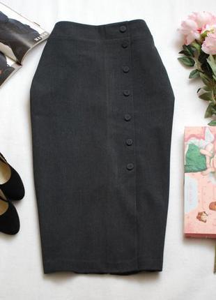 Классическая миди юбка цвета древесный уголь с пуговками спереди m&s 16uk