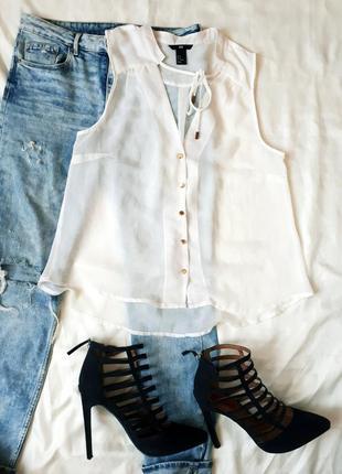 Дешевые блузы,,,белая блуза h&m
