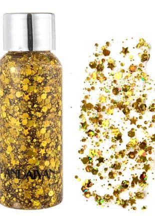 Жидкие золотые блестки для лица, глиттер гель для макияжа, золотой шиммер кожи тела