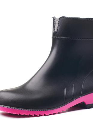 Резиновые сапоги женские черные с ярко-розовой подошвой литма litma 36-41