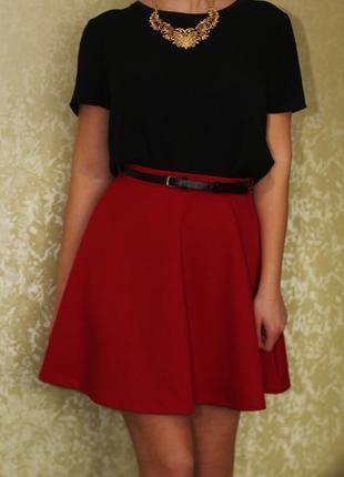 Юбка цвета бордо, ткань вафельная от look