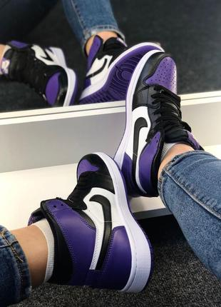 Женские кожаные кроссовки nike air jordan retro high court purple4 фото