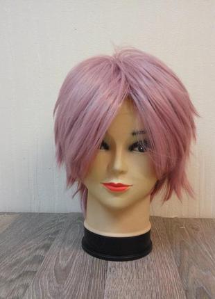 Парик короткий розовый аниме косплей 3732