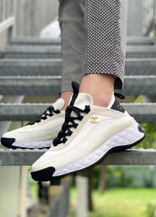 🔥хит🔥 трендовые кожаные кроссовки белые черные