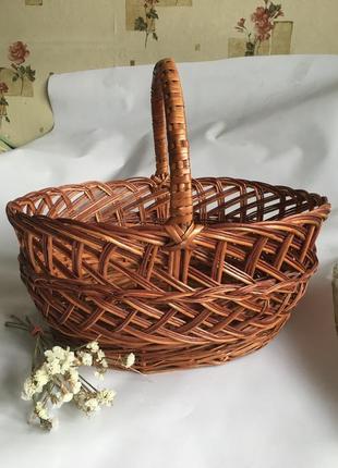 Большая вместительная корзина корзинка кошик пасхальная плетёная плетеная на пасху