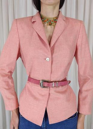 Кашемировый жакет akris лососевый цвет люкс бренд піджак блейзер розовий италия кашемір