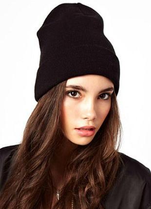 Трендовая черная шапка бини, двойная