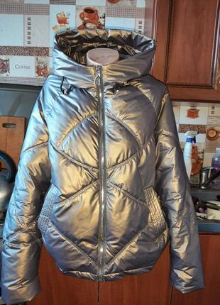Стильная куртка оверсайз золотистого цвета! размер xl