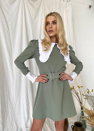 Платье женское с воротником оливка