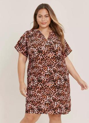 Evans платье рубашка прямое леопардовый принт большое батал свободное миди