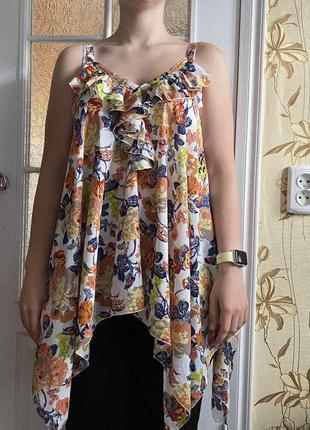 Цветная майка, блуза оверсайз с открытыми плечами.48-50 размер