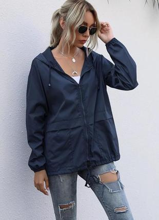 Ветровка женская с капюшоном куртка деми плащевка