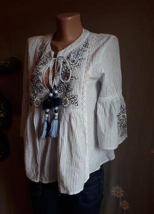 Хлопковая блуза zara  вышиканка  в полоску этно рустикаль можно для беременных/ распродажа