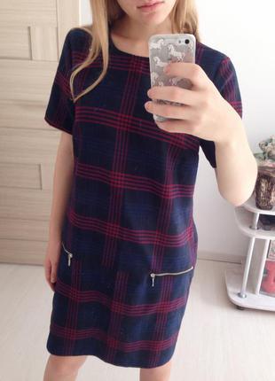Клетчатое платье с замочками