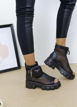 Женские босоножки сетка, кожаные босоножки на массивной подошве, хитовые босоножки 20213 фото