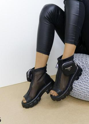Женские босоножки сетка, кожаные босоножки на массивной подошве, хитовые босоножки 20216 фото