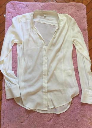 Шикарная белоснежная рубашка с рукавами h&m