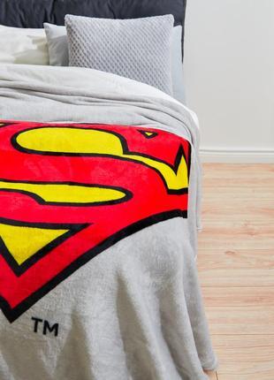 Флисовый плед супермен 130х160 см, супер подарок для фаната dc