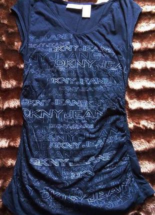 Черная длинная футболка туника с принтом логотипа dkny jeans (возможен обмен)
