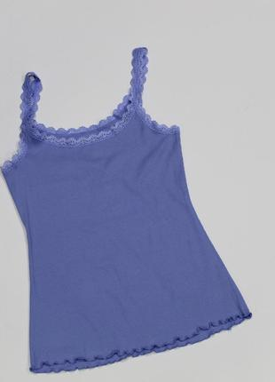 Распродажа майка голубая с кружевом  премиум качество германия размер евро м 40/42