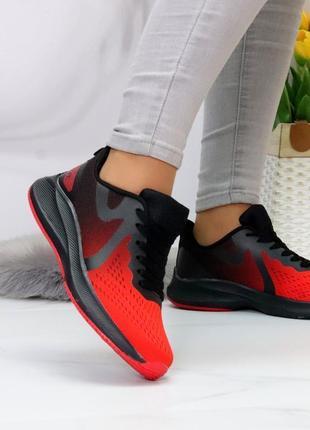 Шикарные женские текстильные черно-красные кроссовки кросівки