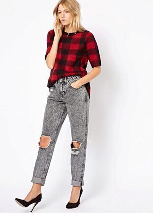 Джинсы тертые/джинсы высокая талия/черные джинсы/женские серые джинсы/дырявые джинсы