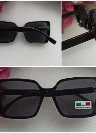 Новые красивые солнцезащитные очки с мерцающим блеском по бокам, черные