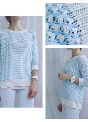 Фирменный зефирный свитерок небесного оттенка рельефной вязки 100 % kotton