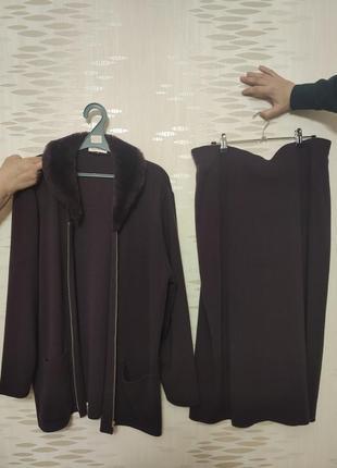 Трикотажный костюм для женщин юбка и жакет на молнии, вязаный костюм