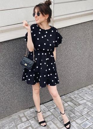 Платье короткое в горох  платице сукня сарафан в ассортименте