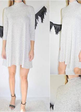 Женственное платье в рубчик на осень