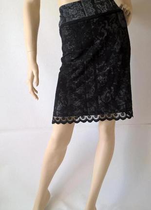 Кружевная юбка миди повседневный офисный стиль
