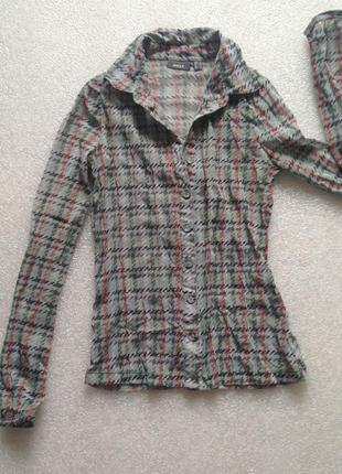 Стильная рубашка клетка качественная эластичная сетка стрейч сеточка необычная классика