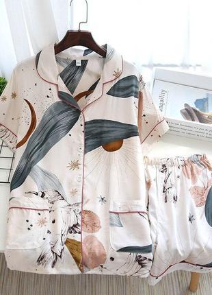Пижама женская хлопковая. пижама женская из вискозы с коротким рукавом и шортами