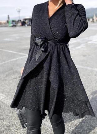 Платье чёрное оверсайз с люрексовой нитью