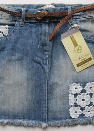 Джинсовая юбка с кружевом на 11-12лет