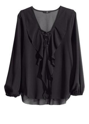 Шикарная шифоновая блуза с воланом,размер 42/14