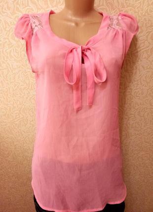 Розовая блузка шифон с бантом и кружевами