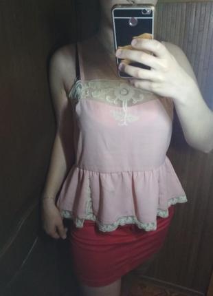 Розовая майка с круживом (также возможен обмен)