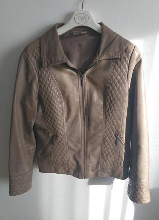 Бежевая пудровая нюдовая косуха куртка