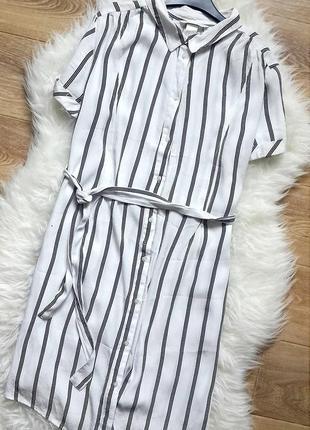 Платье-рубашка в полоску h&m, длинная рубашка в полоску